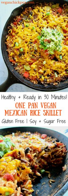This Easy One Pan Meal: Vegan Mexican Rice Skillet (gluten free!) is a great weeknight dinner side or main meal. Simply toss rice, black beans, diced tomatoes, Simply Organic Simmer Sauce and some veggies in a skillet and let simmer. Minimal chopping requ