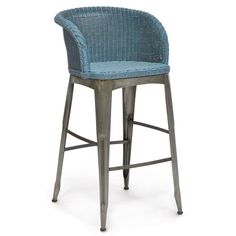 """This Palecek Navy barstool delivers elevated modern appeal to contemporary kitchens and dining rooms. The industrial style of this accent's pewter-finished wrought iron legs captivatingly contrasts with a handwoven wicker seat and back for unique seating. 22.5""""W x 23.5""""D x 42""""H. Arm: 39""""H. Seat: 30.5""""H. Suitable for contract use. Available in several finishes. Wipe down to clean."""