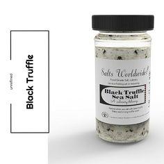 Black Truffle Salt - 4 oz. Glass Salt Shaker - https://saltsworldwide.com/buy/black-truffle-salt-4-oz-glass-salt-shaker/  #food