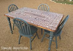 "Domestic Imperfection - Stenciled ""Indian Inlay"" Table"