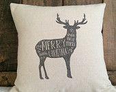 Christmas Pillow Cover, Deer Pillow, Have Yourself a Merry Little Christmas Pillow, winter Pillow, Holiday throw pillow decorative pillow