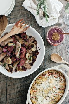 Roasted Summer Sausages with Red Wine Grape Mustard recipe