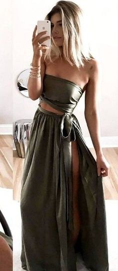 Khaki Silk Two Pieces Maxi Dress