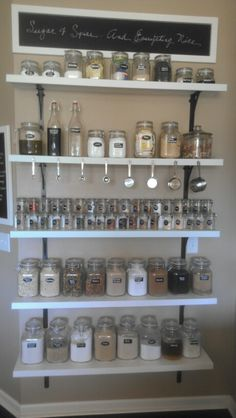 """Sugar and spice and everything nice"" DIY spice rack. Kitchen shelves."