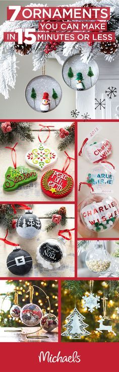 Handcrafted ornaments are a great way to add a special touch to your tree, but it doesn't have to take you forever! These 8 DIY ornaments can be made in 15 minutes or less. They also make great present toppers or last minute gift ideas for family or frien Handmade Ornaments, Diy Christmas Ornaments, Homemade Christmas, Christmas Projects, All Things Christmas, Holiday Crafts, Holiday Fun, Christmas Holidays, Christmas Decorations
