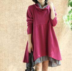 Rose red halfturtleneck cotton dress casual loose by ElegantGens, $56.90