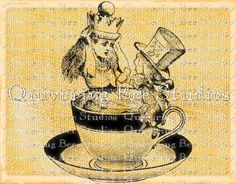 Alice in Wonderland Mad Hatter Tea Cup by QuiveringBeeStudios, $3.95