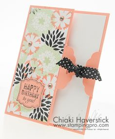 February Stamp-A-Stack #1: Petal Parade Scalloped Tag card. I love the use of the tag top punch in this