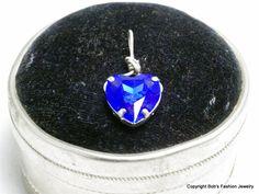 Blue Swarovski Crystal Heart Pendant by BobsFashionJewelry on Etsy