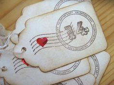 valentine Gift Tags Vintage Postmark by CharonelDesigns on Etsy, $4.95