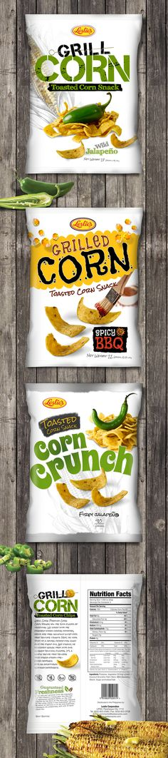 Kreativebones Design 2013 © Corn Chips Packaging Design Concept for a corn chip snack.  This was the preliminary design set prior to the final version. I personally liked concept #1 versus the one approved=)