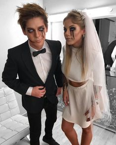 Best Halloween Costumes For Couples To Win This Year; Halloween Costumes For Couples; Mario And Peach Halloween Costume; Zombie Bride Halloween Costume, Scary Couples Halloween Costumes, Looks Halloween, Easy Diy Costumes, Halloween Party, Couple Costumes, Costume Ideas, Halloween Makeup, Zombie Couple Costume