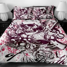 Buy Fanaijia printed skull Bedding Set King size sugar skull Print Duvet Cover set with pillowcase AU Queen Bed best gift bedline . Plum Bedding, Duvet Bedding Sets, Cheap Bedding Sets, Bedding Master Bedroom, Cheap Bed Sheets, Black Bedding, Queen Bedding, Cosy Bedroom, King Comforter