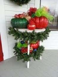 Fall pumpkins repurposed for Christmas. Pumpkin Snowmen, Christmas Pumpkins, Whoville Christmas, Christmas Porch, Fall Pumpkins, Christmas Holidays, Christmas Wreaths, Christmas Ornaments, Whoville Hair