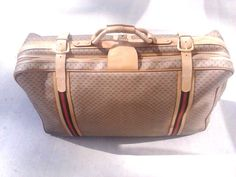 "VINTAGE GUCCI Suitcase Luggage Monogram GG  Canvas & Leather 30"" #GUCCI"
