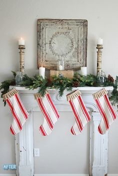 So cute! Stockings cut out of old striped rugs.