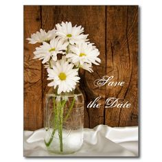 Mason Jar Daisies Country Wedding Save the Date Post Card