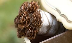 Pine cone bouquet inspired by the Hunger Games
