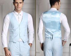Štýlová pánska vesta ku obleku v svetlo modrej farbe
