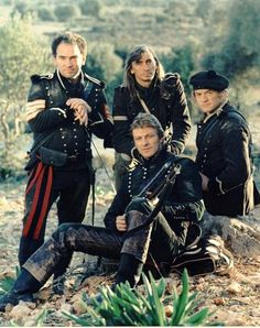 Sharpe. Tv series that came out in 1993, following the adventures of Richard Sharpe an officer fighting during the Napoleonic wars. The series was based on the books of Bernard Cornwell and starred Shaun Bean