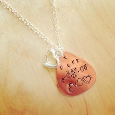 I pick you with wedding date hand stamped guitar pick necklace with heart charm  Www.facebook.com/lastingimpressionshandstampedjewelry Lastingimpressionsjewelryct@gmail.com #lastingimpressions #handstampedjewelry