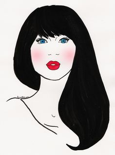 zooey deschanel portrait peinture encre de chine