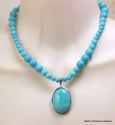 Turquoise Howlite oval pendant necklace | Mark's Gemstone Jewellery