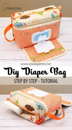 Diaper Bag Patterns, Diy Bags Patterns, Baby Patterns, Sewing For Kids, Baby Sewing, Wipes Dispenser, Diy Diapers, Sewing Pillows, Fabric Bags