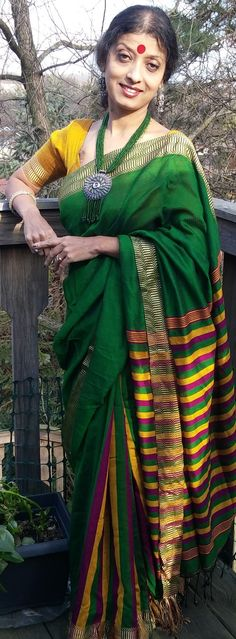 100sareepact - Green, Yellow, and Purple Bengali Handloom Saree