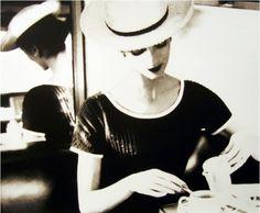 Photo by Lilian Bassman, c. 1950, Carmen Dell'Orefice Having Tea.
