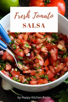 This easy Fresh Tomato Salsa recipe is healthy, absolutely delicious, and comes together quickly. Made with fresh ingredients, this Pico de Gallo will pair beautifully with any south-of-the-border inspired meal. Fresh Salsa Recipe, Tomato Salsa Recipe, Fresh Tomato Recipes, Fresh Tomato Salsa, Spanish Salsa Recipe, Vegan Salsa Recipe, Salsa Recipe Easy, Mexican Food Recipes, Vegetarian Recipes