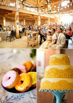 The barn was decorated with bunting flags made by the bride. Hot dogs were catered by J Dawgs. The dessert table included donuts, and carrot bundt cakes, Rice Krispy treats, cupcakes and pies made by friends and family. There were also old fashioned milk bottles filled with milk to wash it all down.