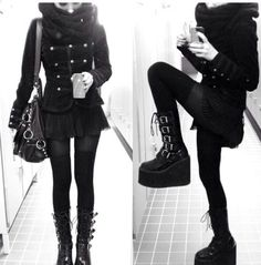 Shoes: boots, pastel goth, jacket, emo, goth, cool, all black everything - Wheretoget