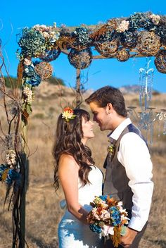 blue and brown fall wedding alter
