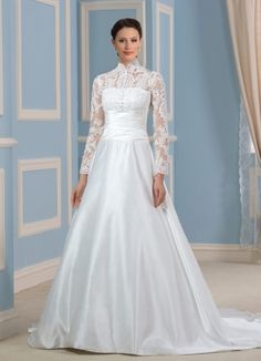 This High Neckline Modest Wedding Gown with Long Lace Sleeves has a natural  waist and is a371e4db2eda