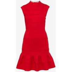 Pleated textured dress ($195) ❤ liked on Polyvore featuring dresses, ted baker dresses, pleated dress, ted baker, red pleated dress and textured dress