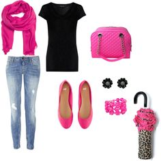 pink and black, created by bunnybabie86.polyvore.com