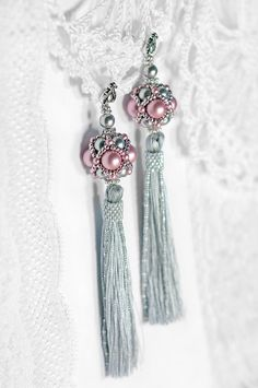 Long tassel earrings Pink and Grey earrings от RitaLovelyBeads