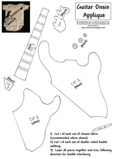Too cute- guitar onesie  Can use this pattern for a throw pillow for the boys room