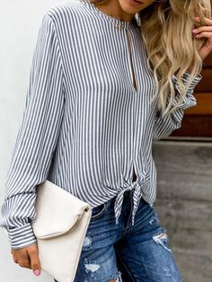 Round Neck Hollow Out Striped Long Sleeves Blouses : Round Neck Hollow Out Striped Long Sleeves swimwear 2019 swimwear bikini swimwear for moms swimwear for big bust swimwear high waisted swimwear modest swimwear for teens swimwear bikini push up Bluse Outfit, Moda Chic, Older Women Fashion, Looks Chic, Blouse Styles, Ladies Dress Design, Blouses For Women, Women's Blouses, Long Sleeve Blouses