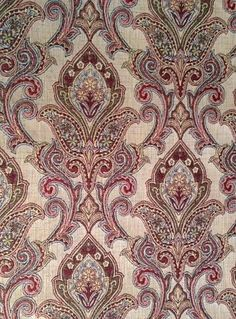 M9627 Spring Art Deco Wallpaper, Damask Wallpaper, Textile Design, Fabric Design, Pattern Design, Paisley Art, Paisley Pattern, Drapery Fabric, Linen Fabric