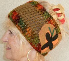 Teen Girl Headband Brown Green Winter Crochet by hatsbyanne1942, $30.00