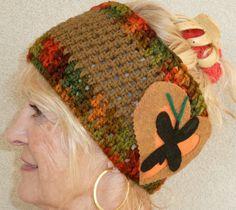 Teen Girl Headband Brown Green Winter Crochet by hatsbyanne1942, $30.00