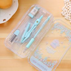 1 Set Cute Kawaii Aihao Korean Compass Pencil Rulers Compass Math Geometric Pencil Drawing Drafting Tools School Supplies
