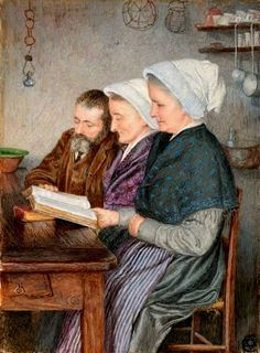 Valdesi reading the Bible by Estella Louisa Michaela Canziani born January 12, 1887 in London, UK died August 23, 1964 (77) in London, UK