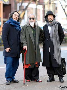 "tokyo-fashion: ""Eiki, Susumu, and Aoba on the street in Harajuku wearing mostly fashion by legendary Japanese designer Yohji Yamamoto along with items from Ground Y, Okura, and Dr. Tokyo Street Fashion, Tokyo Street Style, Japanese Street Fashion, Japan Fashion, Paris Street, Japanese Street Styles, Japanese Trends, Japanese Fashion Trends, Fashion 2020"
