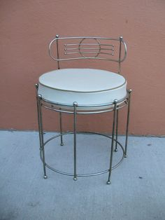 Mid Century Vanity Stool, Heavy Iron Chair, Stool, Seat Bench ...