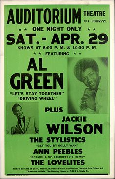 Vintage Classic Soul Musc Concert Poster — Al Green, Jackie Wilson, The Stylistics, Ann Peebles & The Lovelites Vintage Concert Posters, Vintage Posters, Vintage Menu, Tour Posters, Band Posters, Rock & Pop, Rock And Roll, Norman Rockwell, The Stylistics