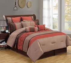 13 Piece Queen Nicola Brick and Taupe Bed in a Bag Set