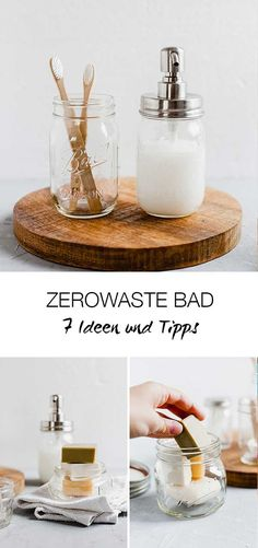 Tipps für eine plastikfreies Bad - Zerowaste Badezimmer // Mason Jar Zerowaste Lieblingsglas You are in the right place about cleaning bathroom smell Here we offer you the most beautiful pictures abou Diy Bathroom, Mason Jar Bathroom, Bathroom Cleaning Hacks, House Cleaning Tips, Glass Bathroom, Bathroom Organization, Bathroom Designs, Master Bathroom, Diy Projects To Try